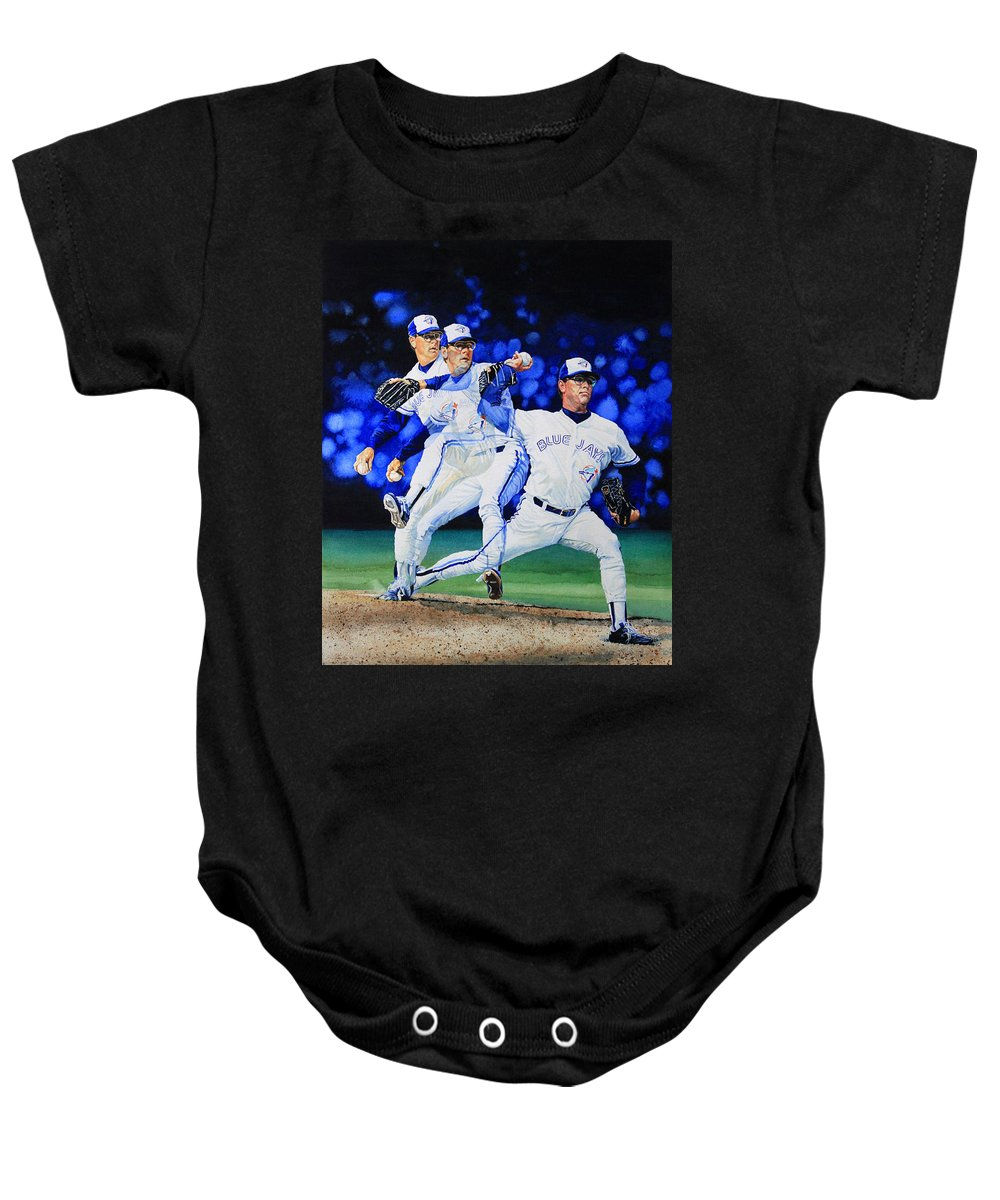 Sports Art Baby Onesie featuring the painting Triple Play by Hanne Lore Koehler