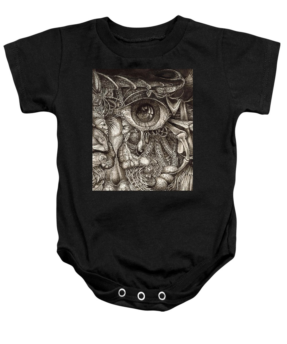 Surreal Baby Onesie featuring the drawing Tripping Through Bogomils Mind by Otto Rapp