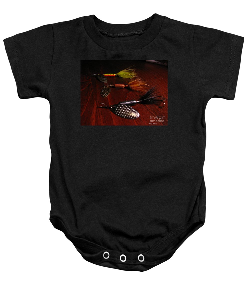 Patzer Baby Onesie featuring the photograph Trout Temptation by Greg Patzer