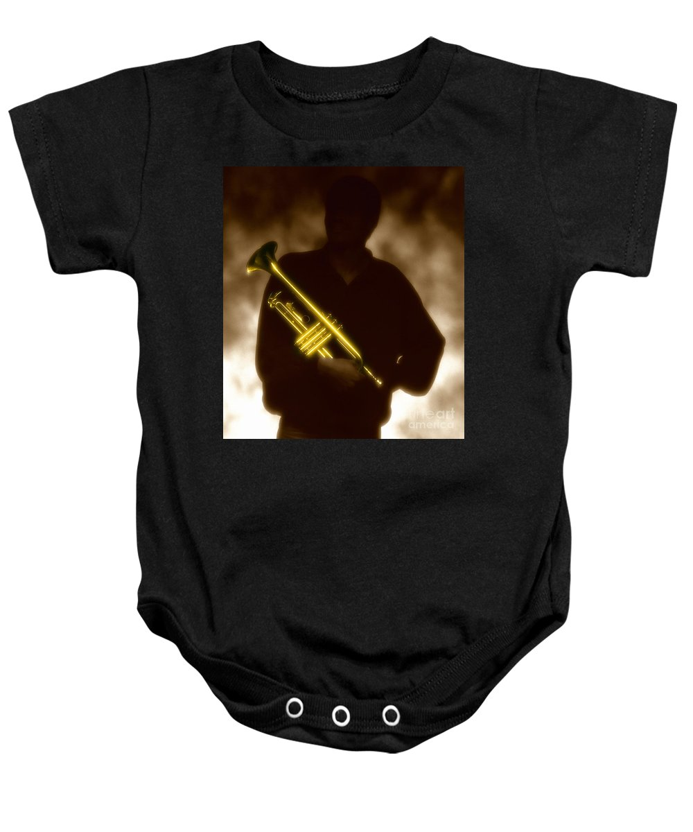 Jazz Baby Onesie featuring the photograph Man Holding Trumpet 1 by Tony Cordoza