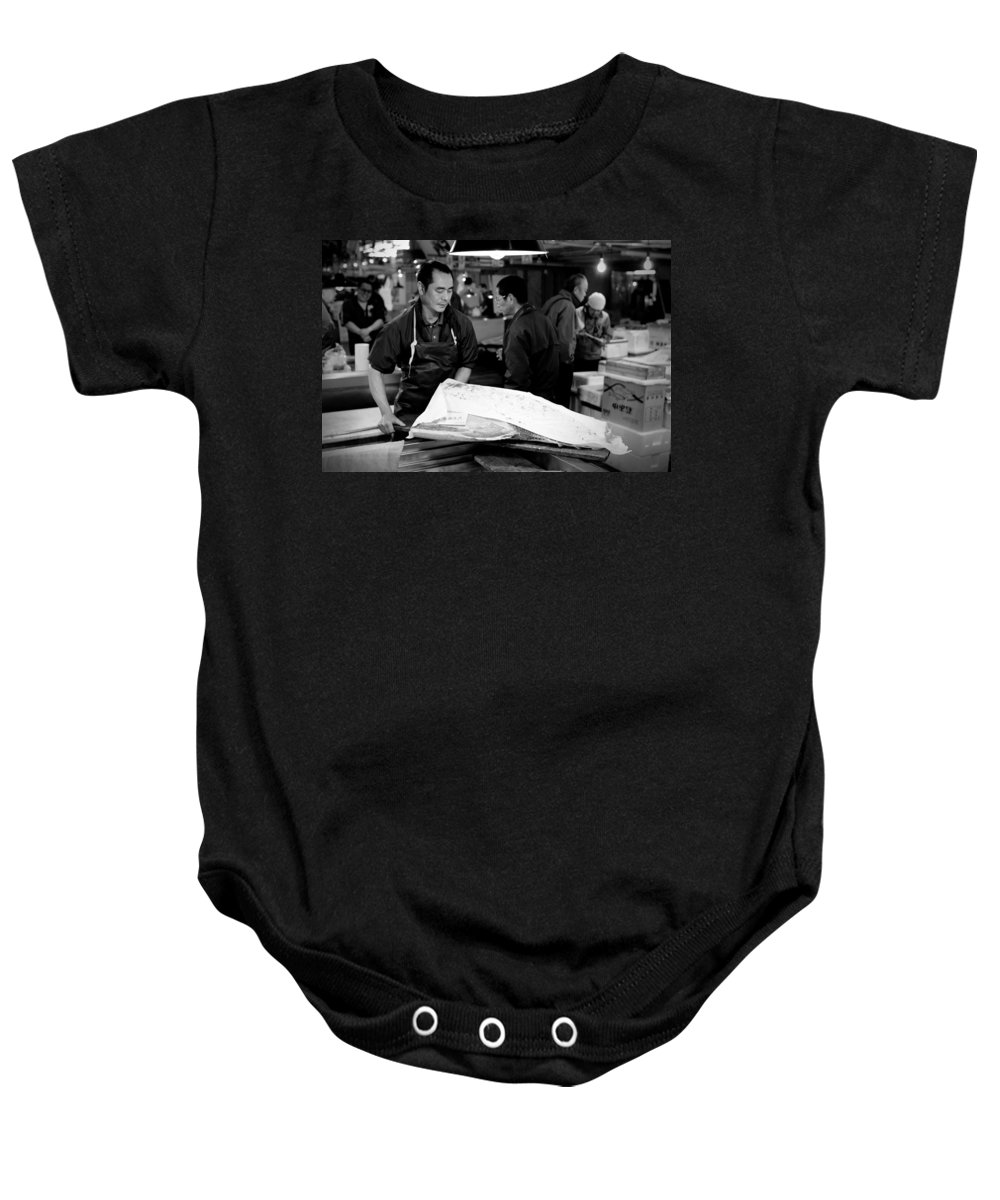 Japan Baby Onesie featuring the photograph Tsukiji Tokyo Fish Market by Sebastian Musial