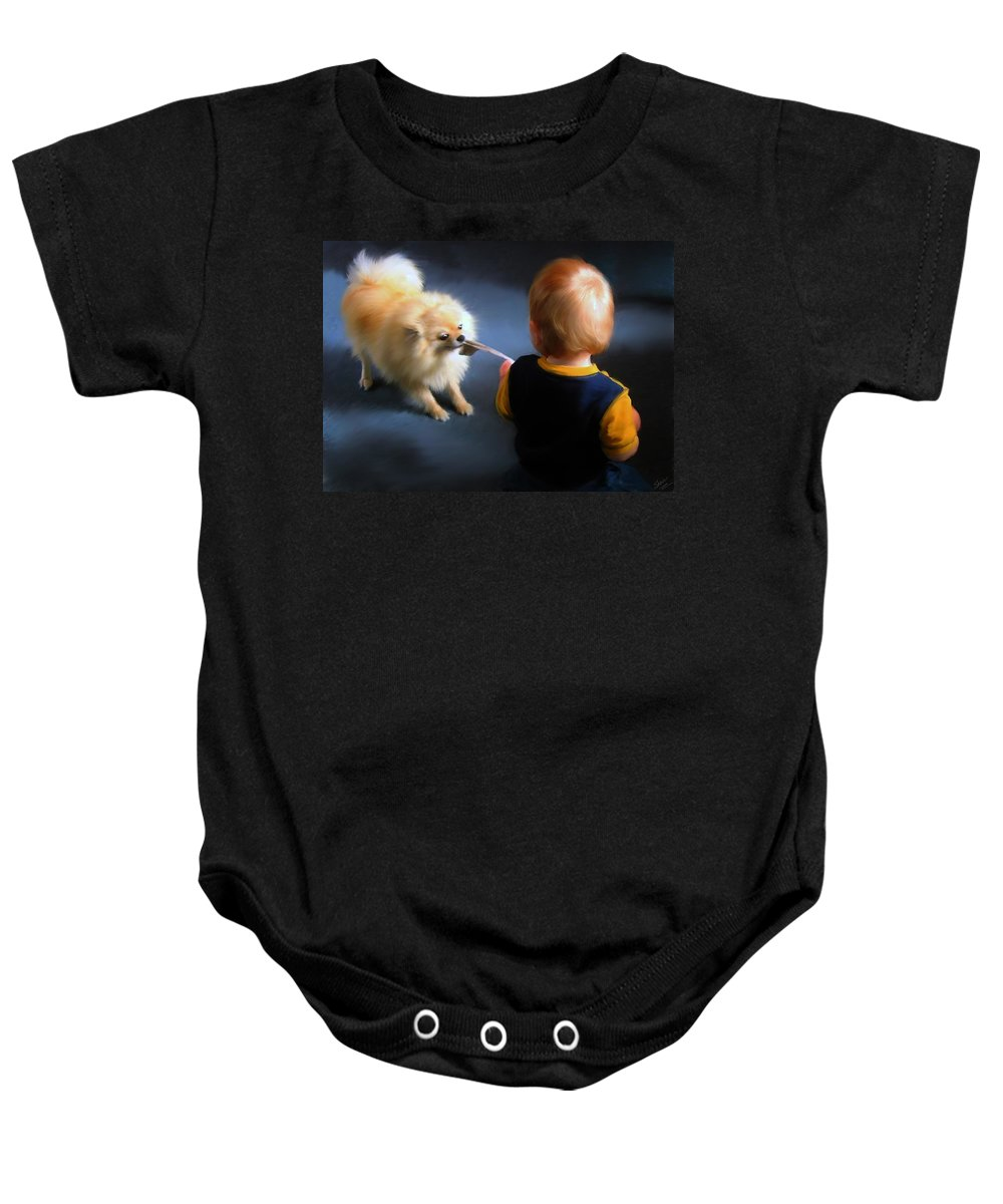 Crossman Baby Onesie featuring the painting Tug Of War by Shere Crossman