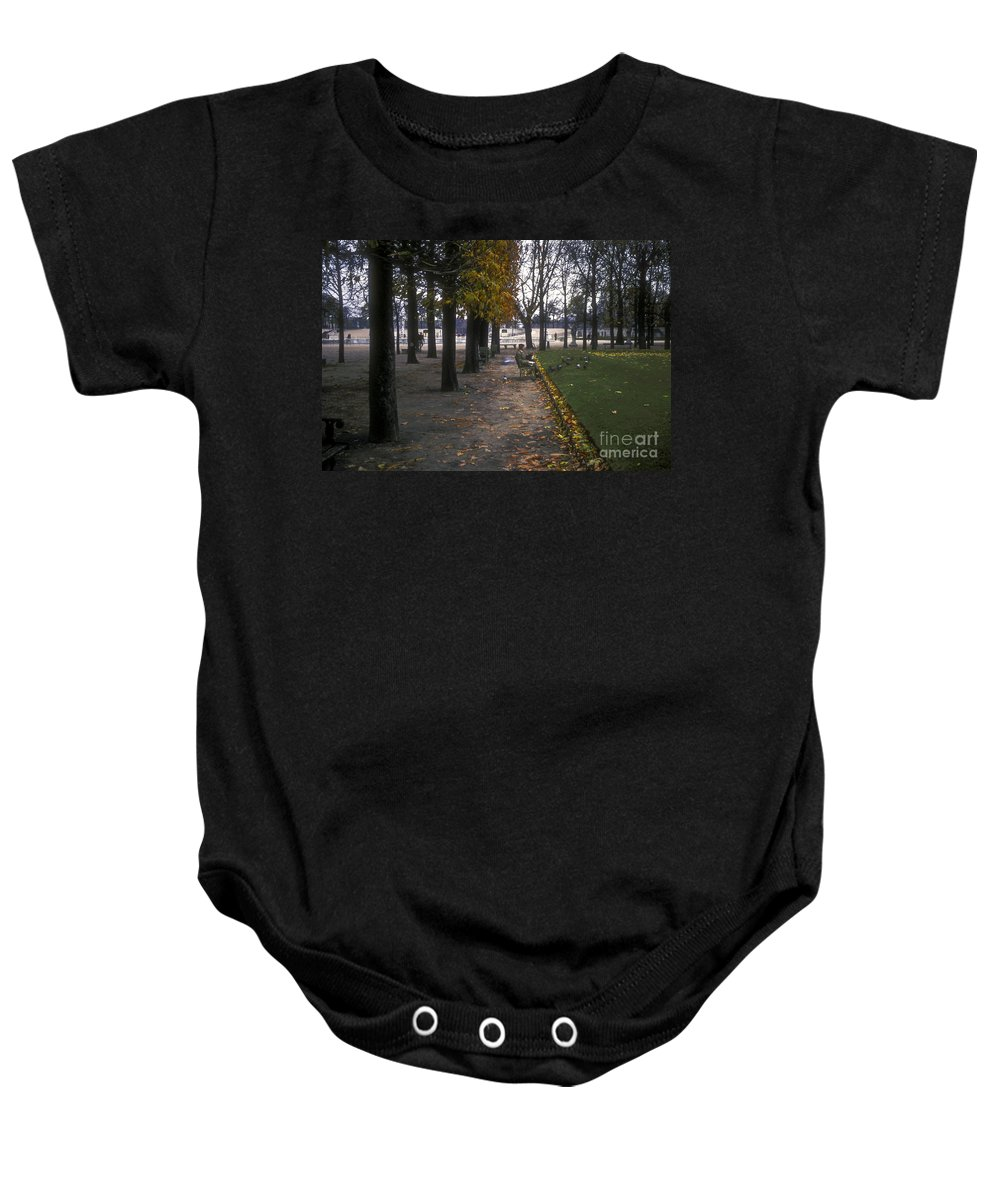 Tuileries Garden Paris France Fall Leaves Autumn Leaf Man Men Person Persons Gardens Dove Doves Pigeon Pigeons Bird Birds Animals Animal Park Parks Baby Onesie featuring the photograph Tuileries Garden by Bob Phillips