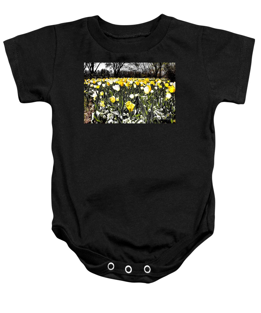 Tulips Baby Onesie featuring the photograph Tulips At Dallas Arboretum V26 by Douglas Barnard
