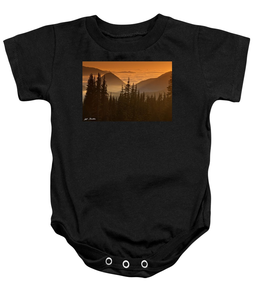 Beauty In Nature Baby Onesie featuring the photograph Tumtum Peak At Sunset by Jeff Goulden