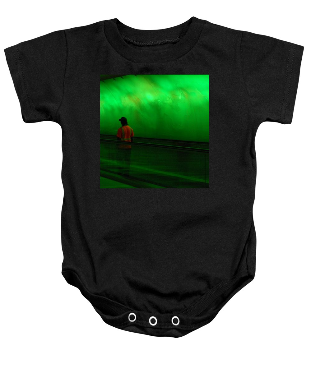 Green Baby Onesie featuring the photograph Green Tunnel Of Light by Dotti Hannum
