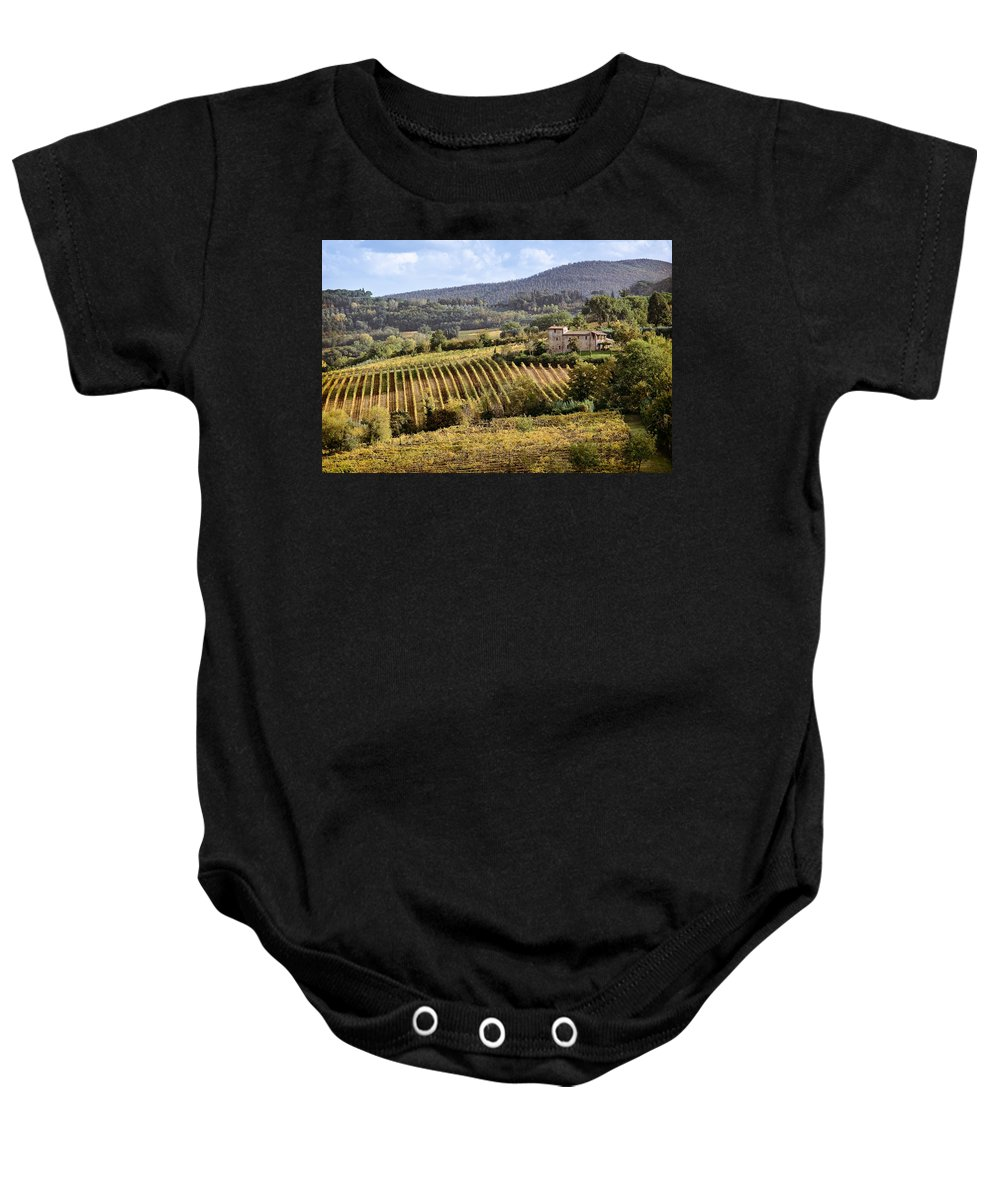 Tuscany Baby Onesie featuring the photograph Tuscan Valley by Dave Bowman