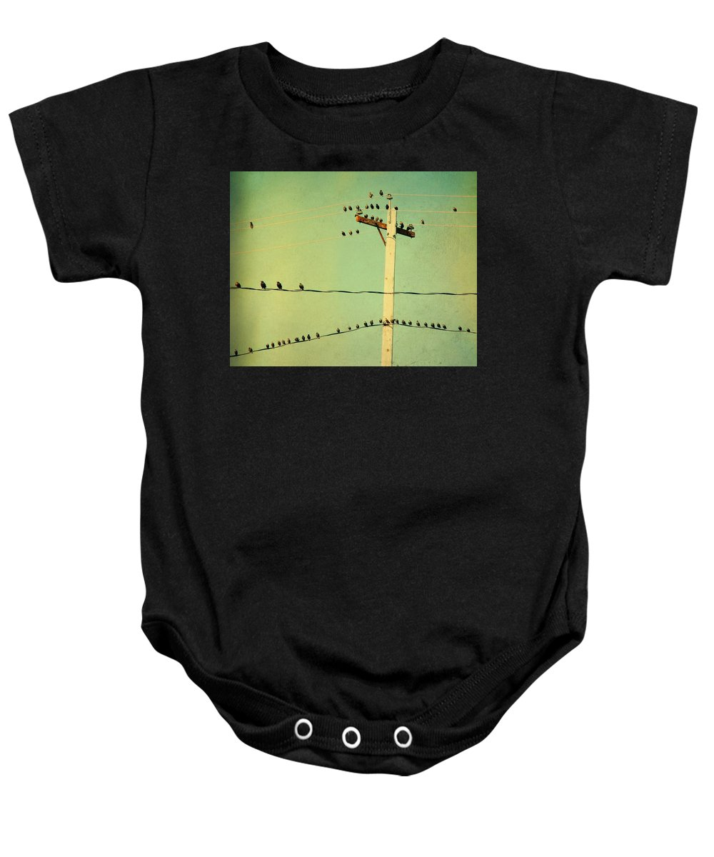 Retro Color Baby Onesie featuring the photograph Tweeters Tweeting by Gothicrow Images