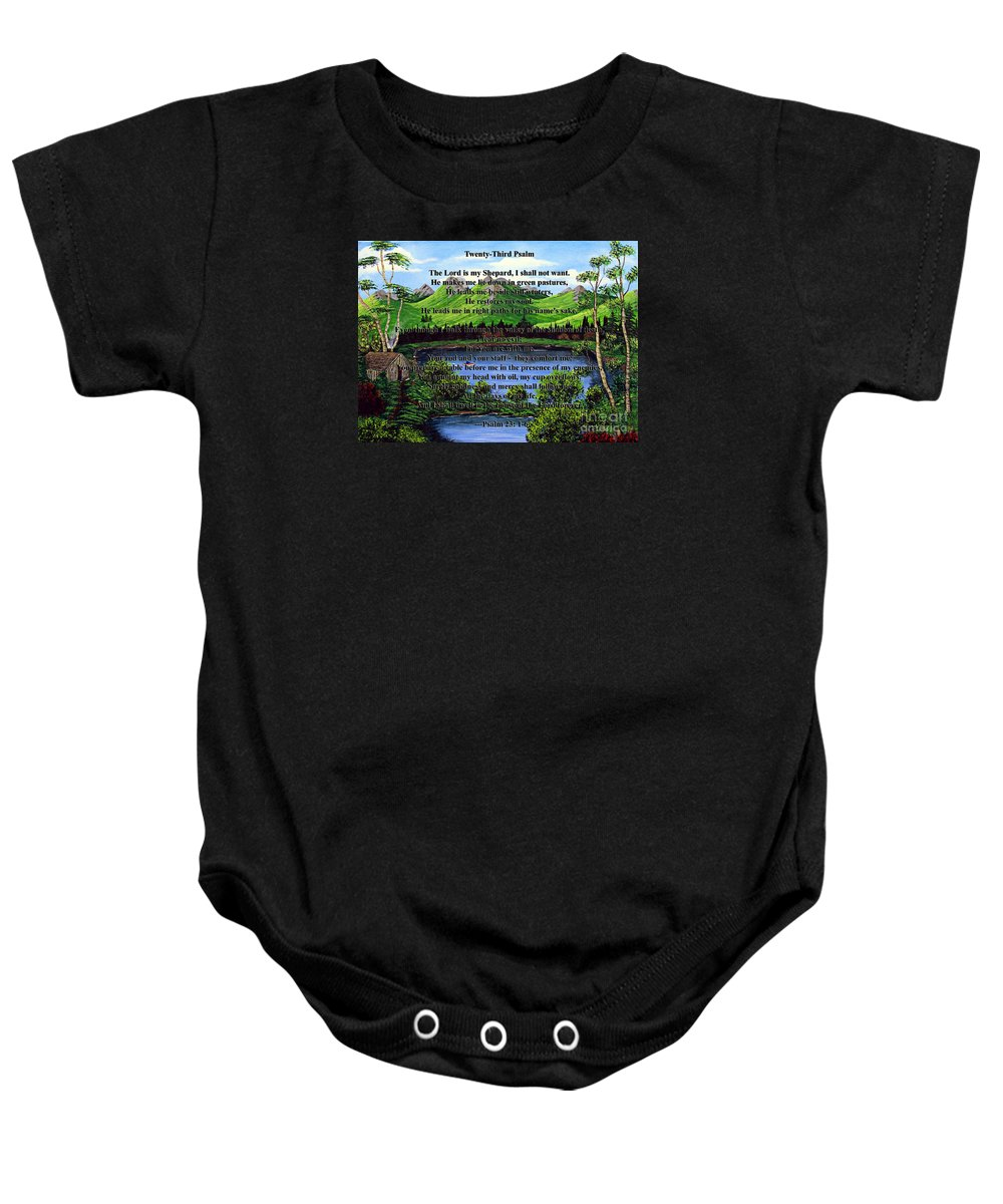 Twenty Third Psalm Baby Onesie featuring the painting Twenty-third Psalm And Twin Ponds by Barbara Griffin