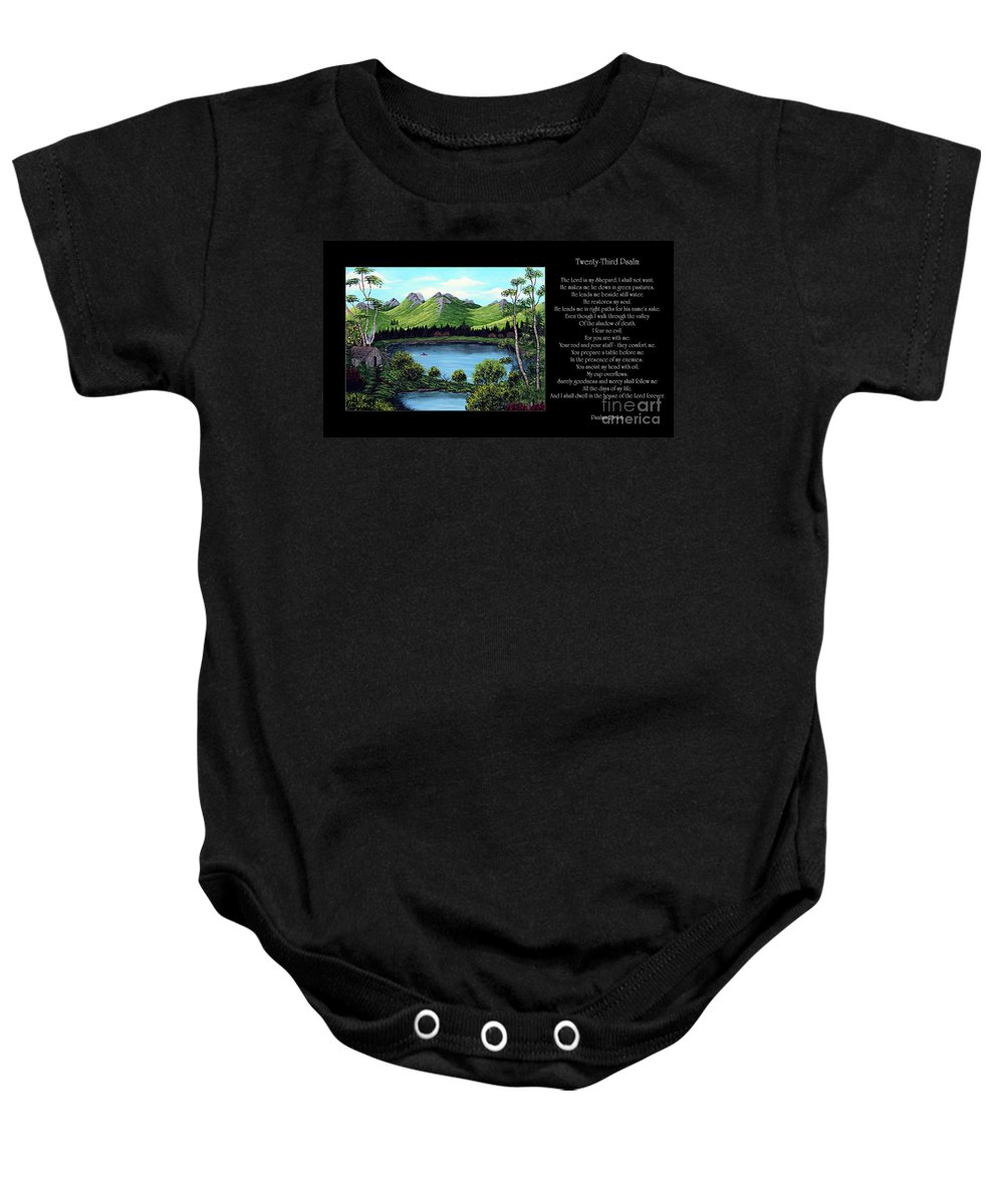 Twenty Third Psalm Baby Onesie featuring the painting Twin Ponds And 23 Psalm On Black Horizontal by Barbara Griffin