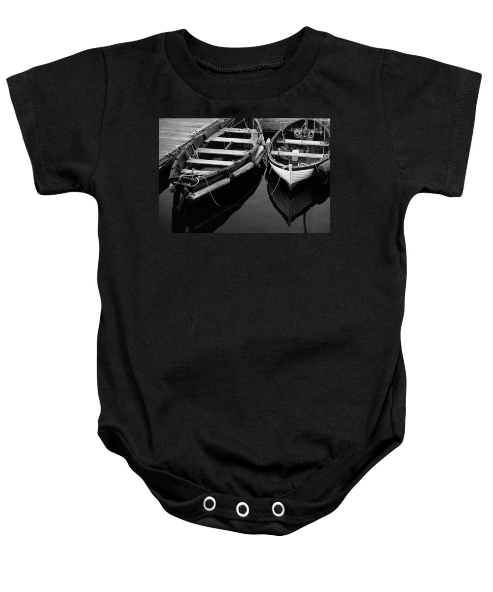 Harbor Baby Onesie featuring the photograph Two At Dock by Karol Livote