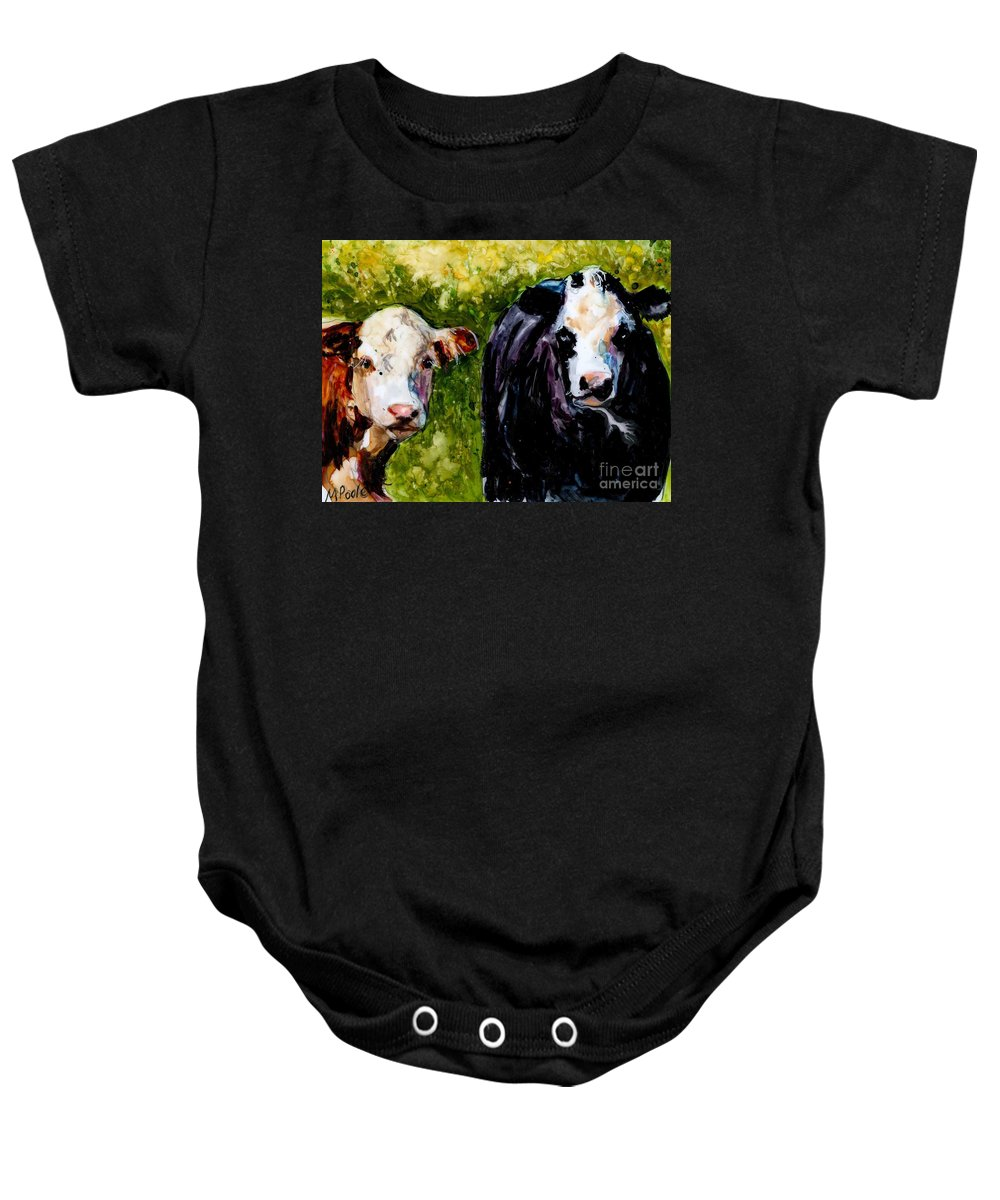 Cows Baby Onesie featuring the painting Two Cows by Molly Poole