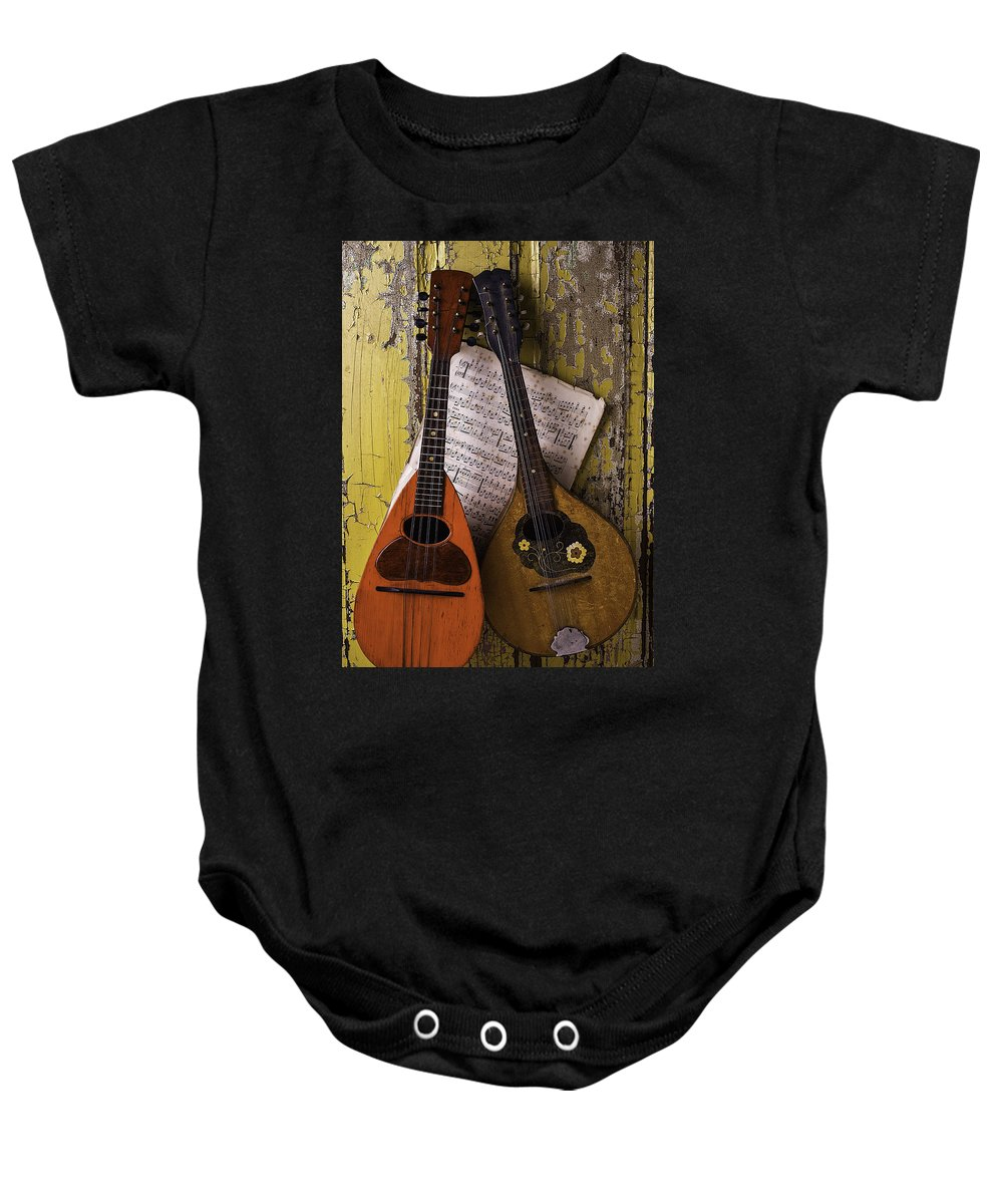 Two Baby Onesie featuring the photograph Two Old Mandolins by Garry Gay