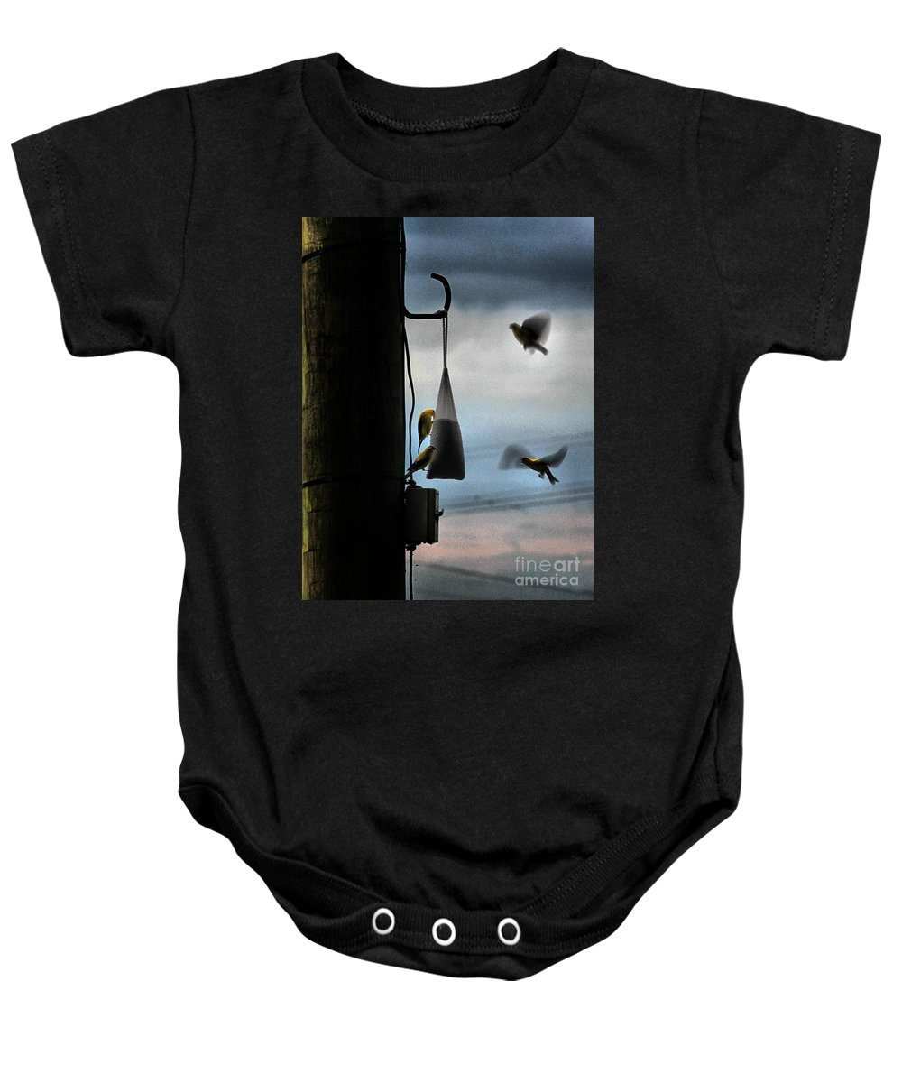 Birds Baby Onesie featuring the photograph U R Cleared For Landing On Runway 5 by Robert McCubbin