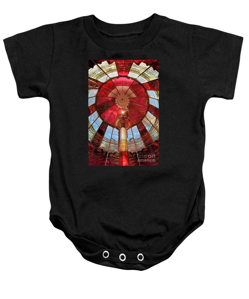 First Order Fresnel Lens Baby Onesie featuring the photograph Umpqua First Order Fresnel by Adam Jewell