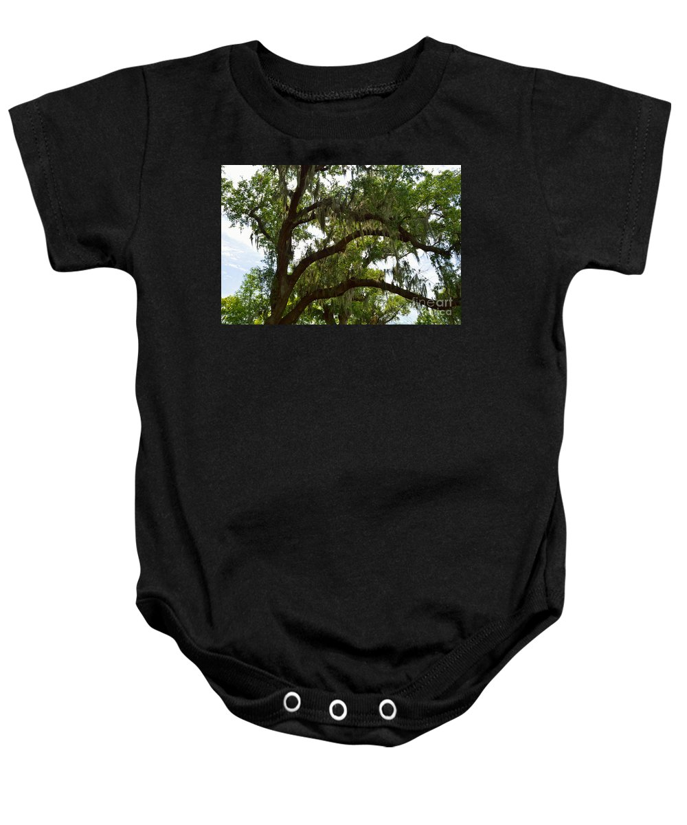 Spanish Moss Baby Onesie featuring the photograph Under The Live Oak Tree by Alys Caviness-Gober