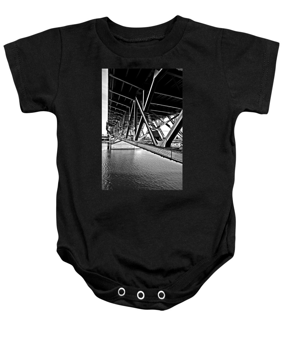 Burnside Bridge Baby Onesie featuring the photograph Underside Of The Burnside Bridge by Gary Silverstein