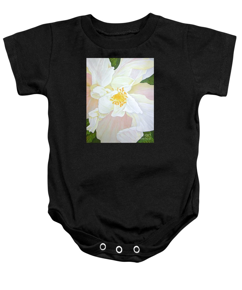 White Baby Onesie featuring the painting Unfurling White Hibiscus by Mary Deal