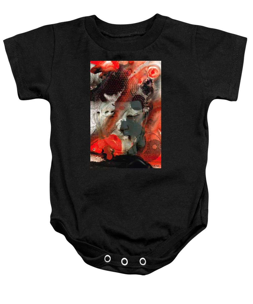 Buddha Baby Onesie featuring the painting Universal Qi - Zen Black And Red Art by Sharon Cummings
