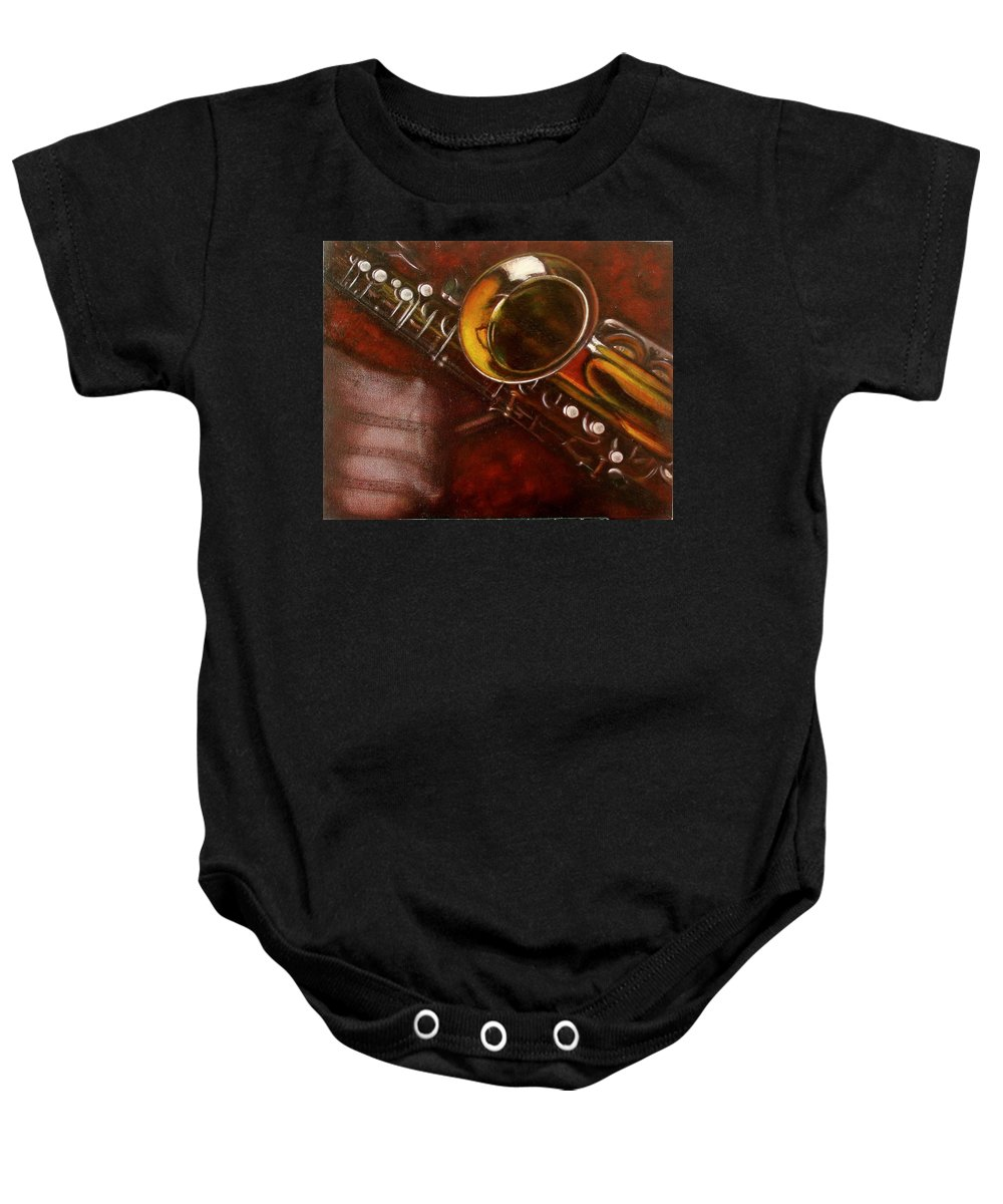 Oil Painting On Canvas Baby Onesie featuring the painting Unprotected Sax by Sean Connolly