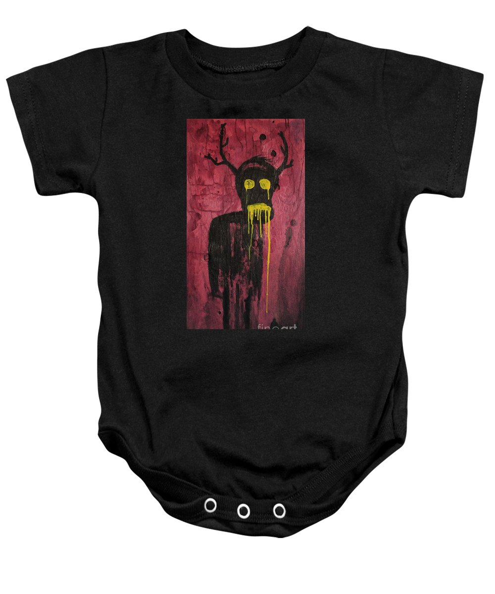 Untitled Baby Onesie featuring the painting Untitled Demon by Bela Manson