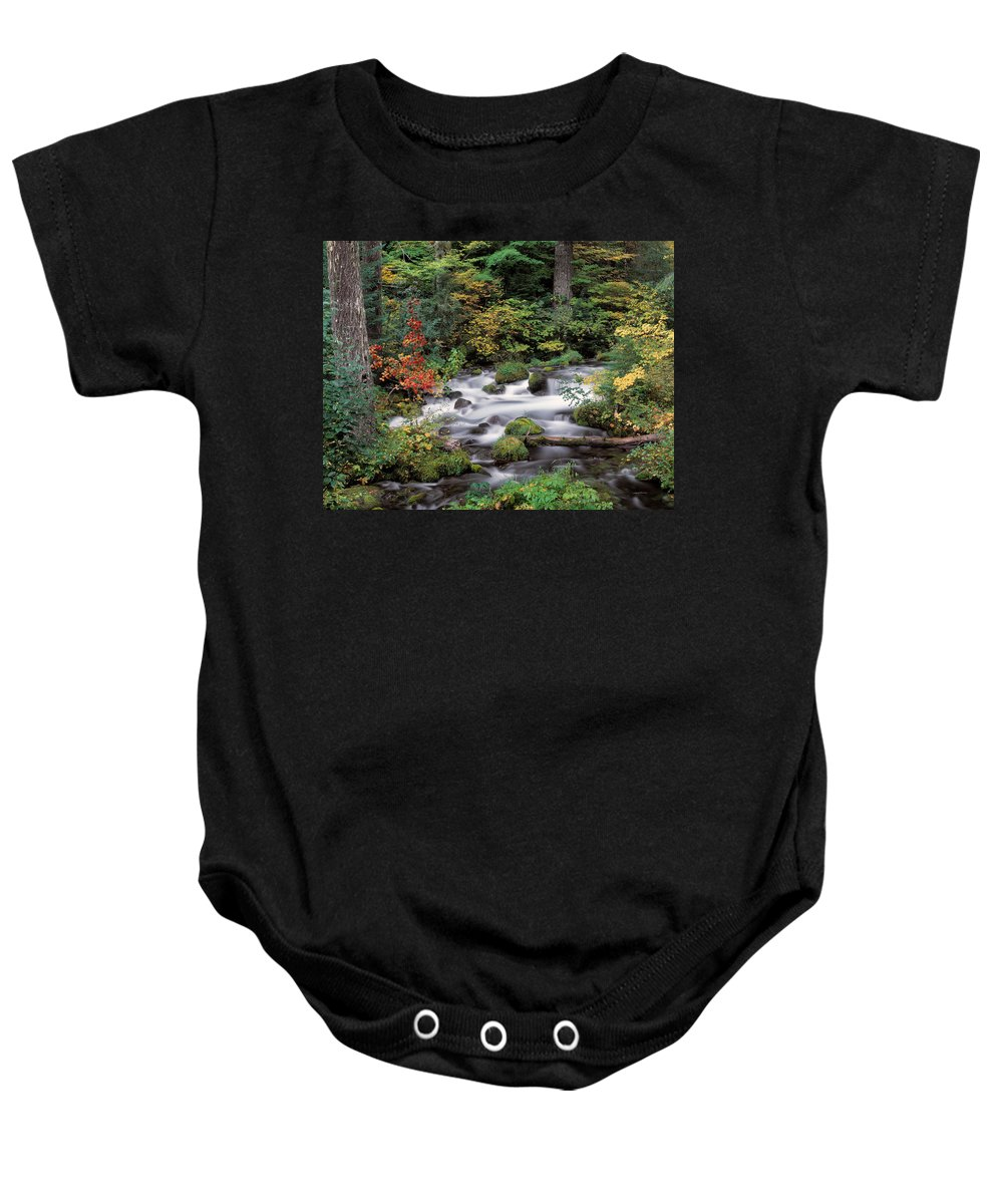Autumn Baby Onesie featuring the photograph Upper Willamette River by Leland D Howard