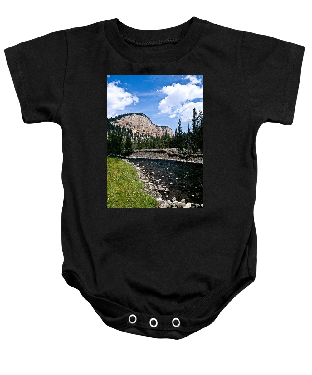 Landscape Baby Onesie featuring the photograph Upriver In Washake Wilderness by Kathy McClure
