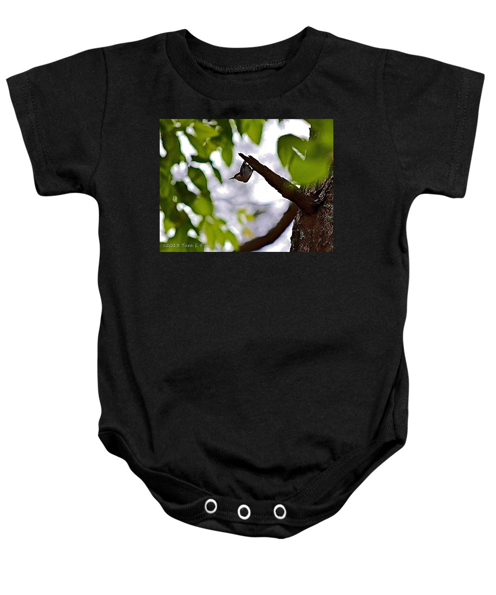 Brown Baby Onesie featuring the photograph Upside Down by Tara Potts