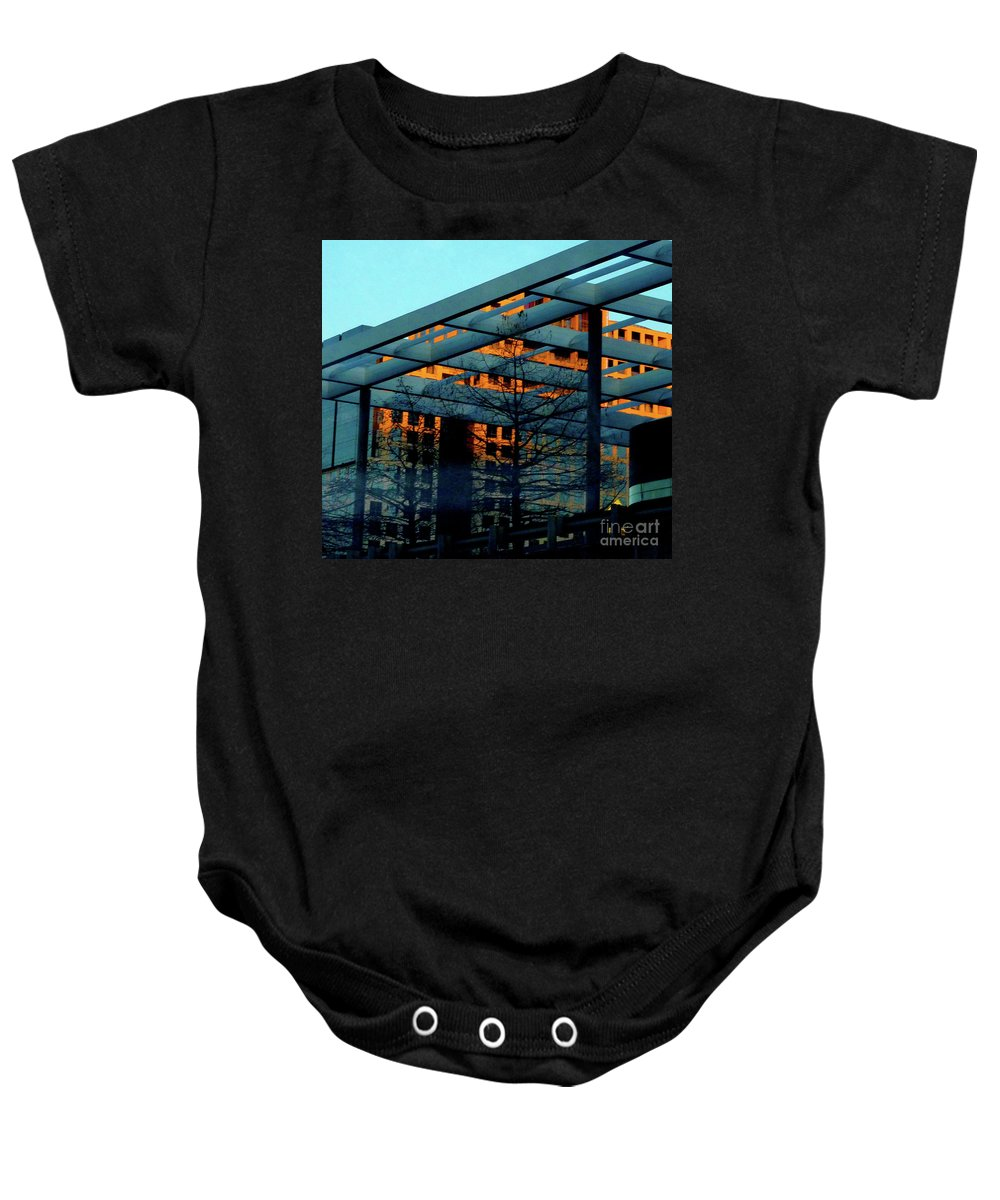 Orange Baby Onesie featuring the photograph Urban Blue by Angela Wright