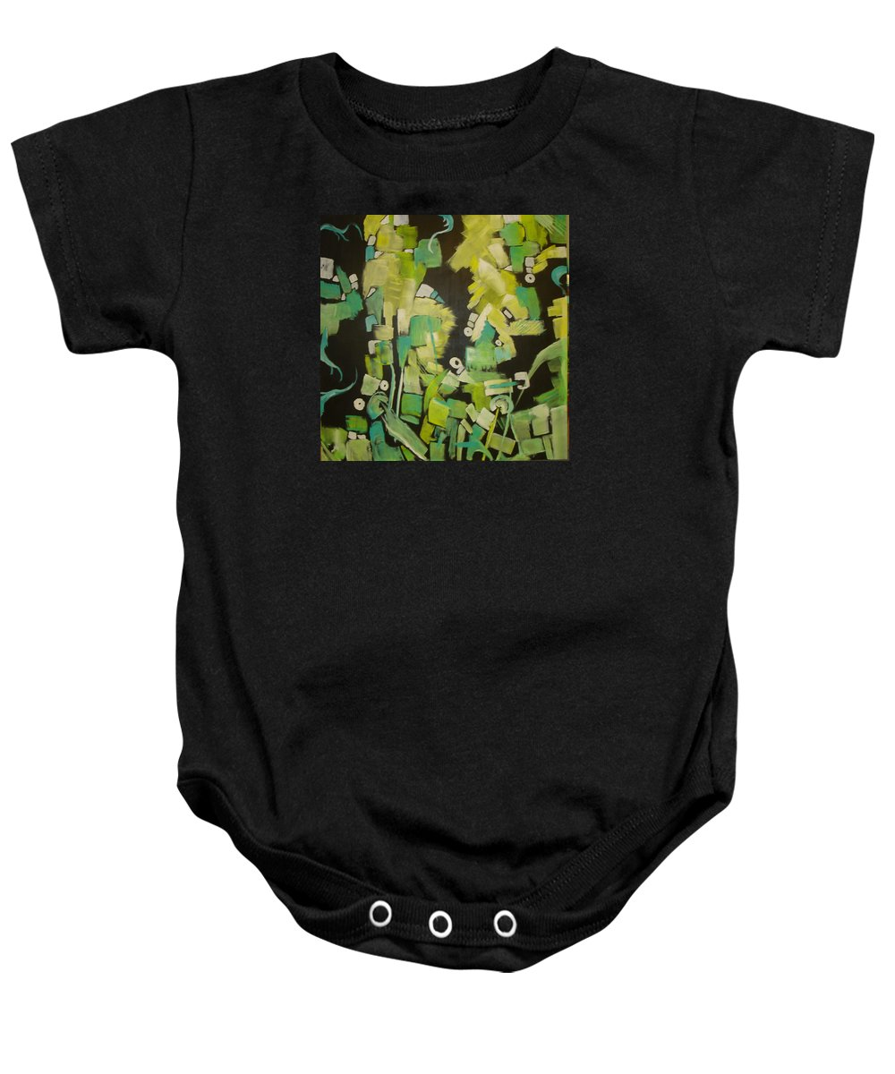 Abstract Baby Onesie featuring the painting Urban Sprawl by Bettye Harwell