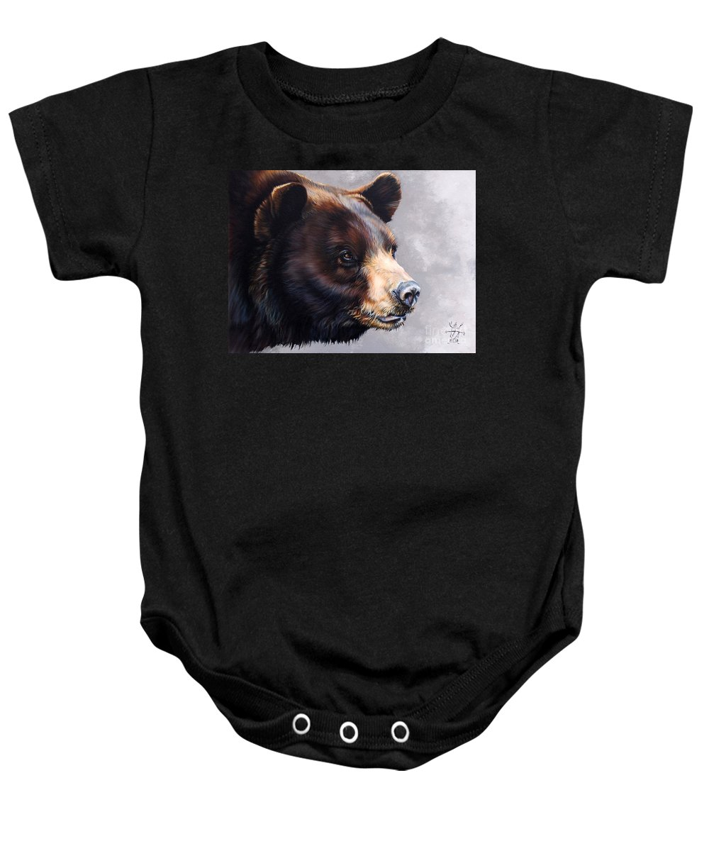 Bear Baby Onesie featuring the painting Ursa Major by J W Baker