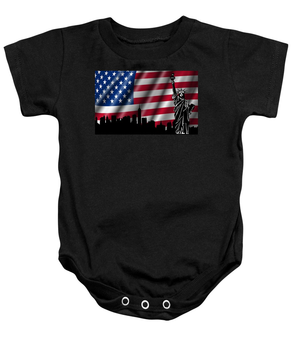 Usa Baby Onesie featuring the photograph Usa American Flag With Statue Of Liberty Skyline Silhouette by David Gn