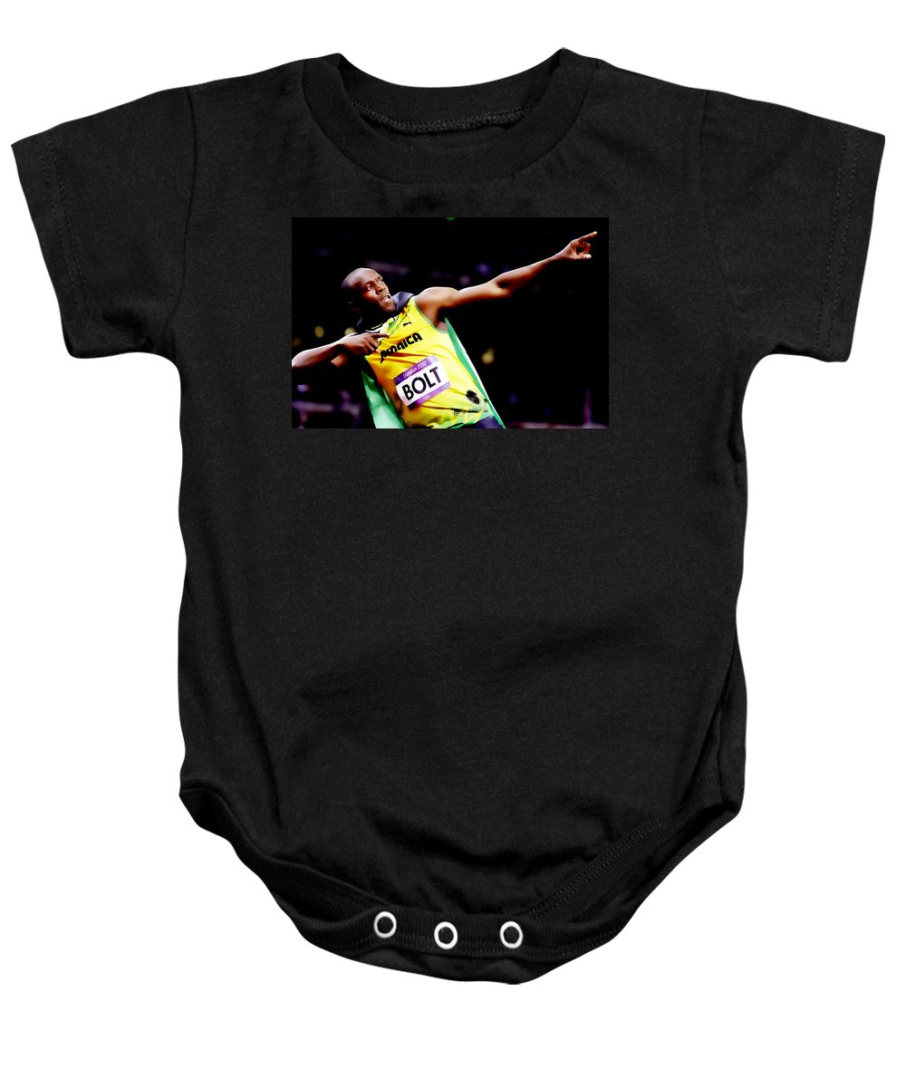 Usain Bolt Baby Onesie featuring the digital art Usain Bolt Sweet Victory II by Brian Reaves