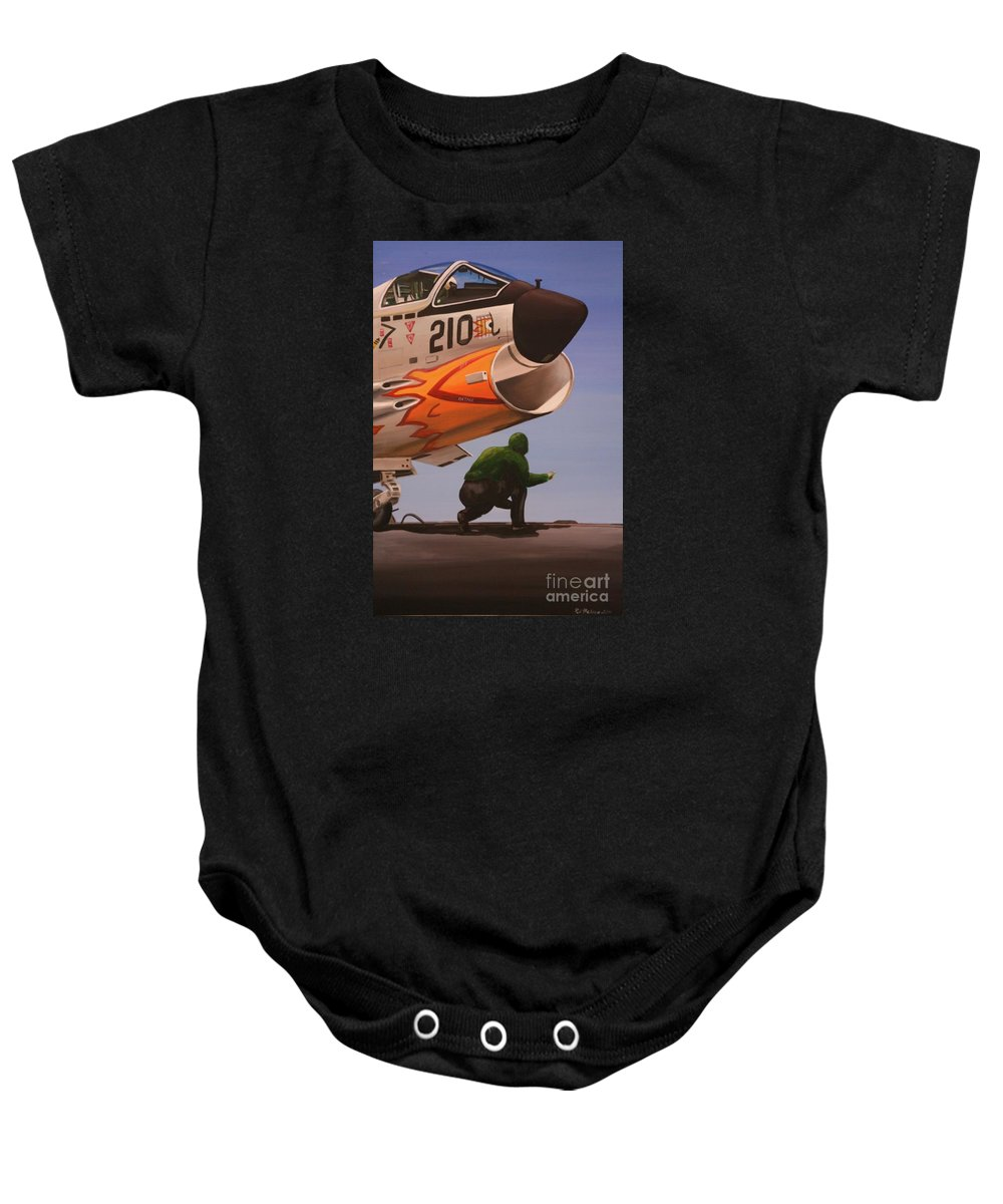 Aircraft Carrier Baby Onesie featuring the painting Uss Forrestal Vought Corsair by Richard John Holden RA