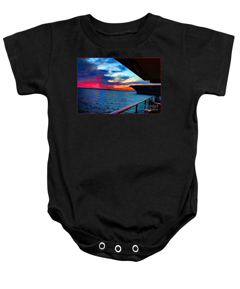 Uss Midway At Sunset San Diego Bay Baby Onesie featuring the photograph Uss Midway Sunset by RJ Aguilar