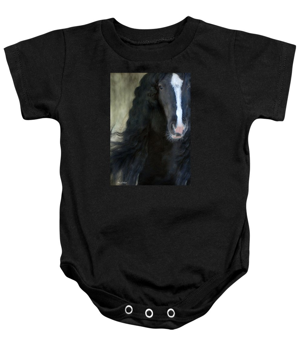 Gypsy Stallion Baby Onesie featuring the photograph Valentino Dreams by Fran J Scott