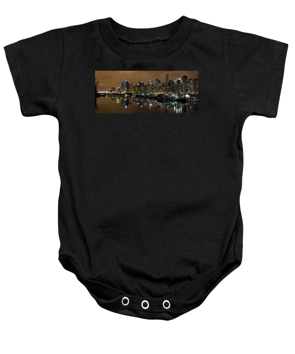 Vancouver Baby Onesie featuring the photograph Vancouver Bc Skyline From Stanley Park At Nigh by Jit Lim