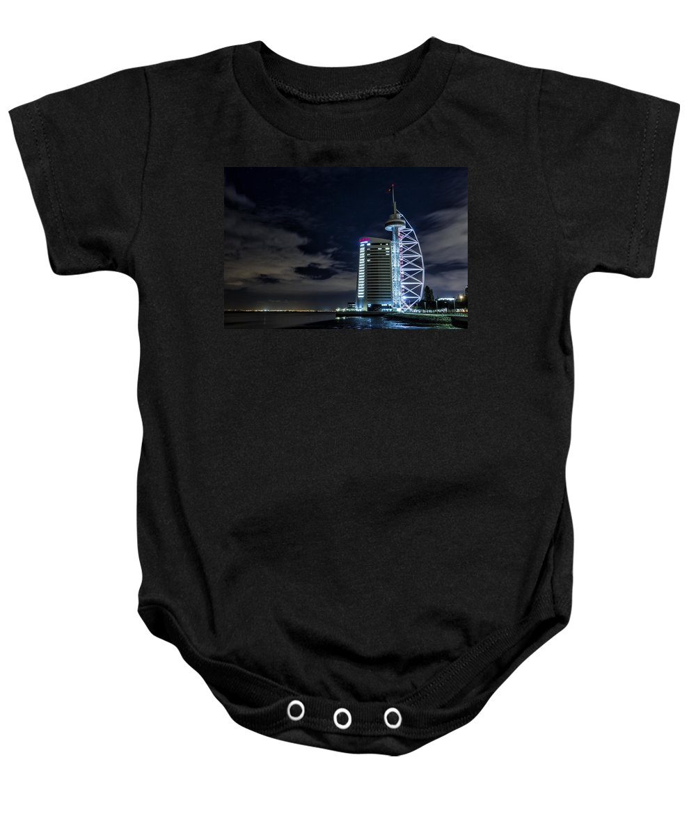 Sky Baby Onesie featuring the photograph Vasco Da Gama Tower by Jose Bispo