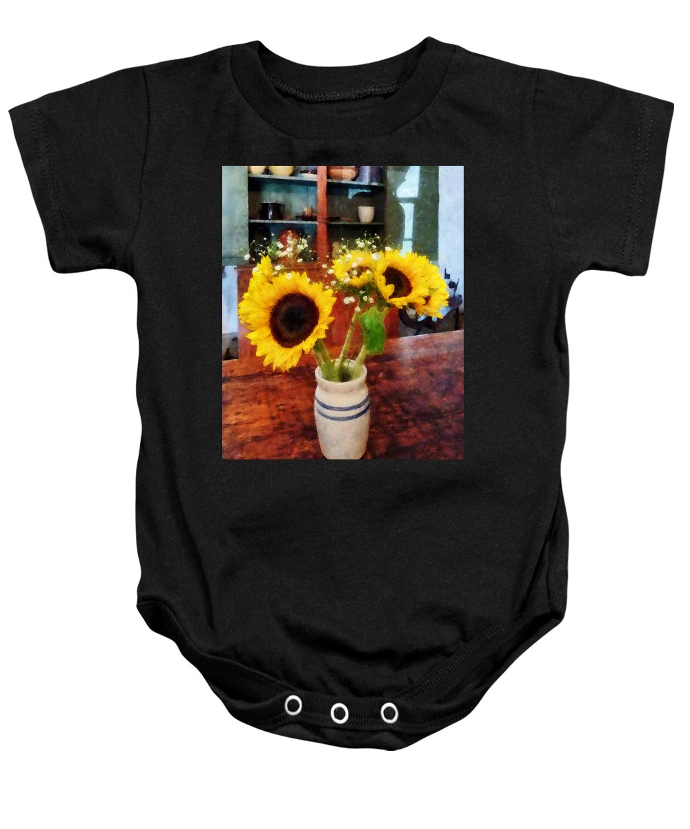 Sunflower Baby Onesie featuring the photograph Vase Of Sunflowers by Susan Savad