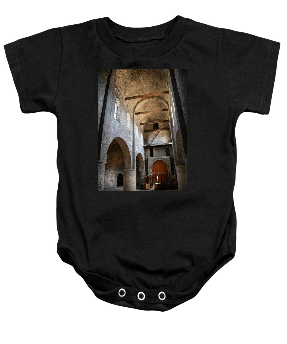 Vault Baby Onesie featuring the photograph Vaulted Roof St Philibert - Tournus by Christiane Schulze Art And Photography