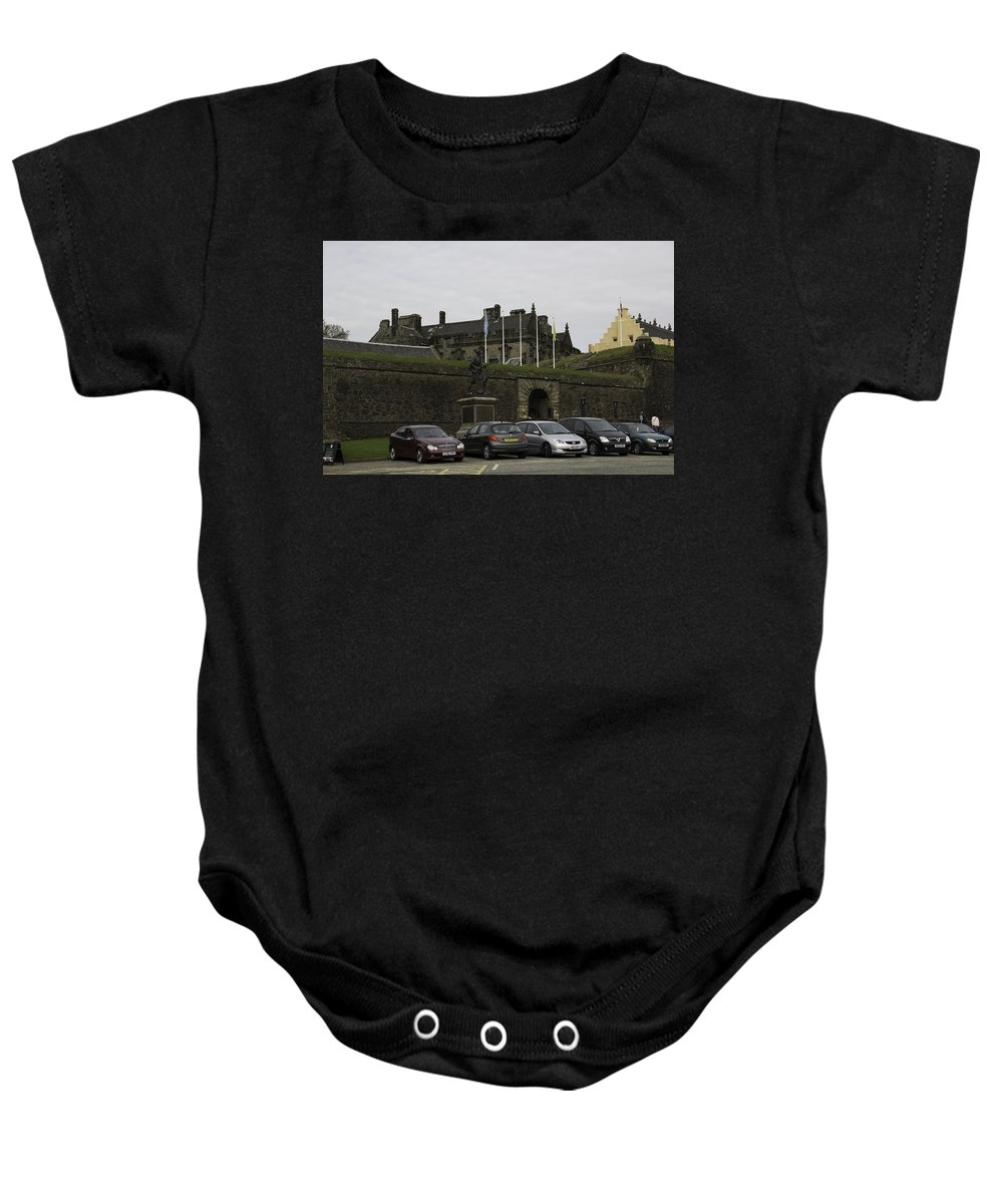 Architecture Baby Onesie featuring the photograph Vehicles At The Parking Lot Of Stirling Castle by Ashish Agarwal