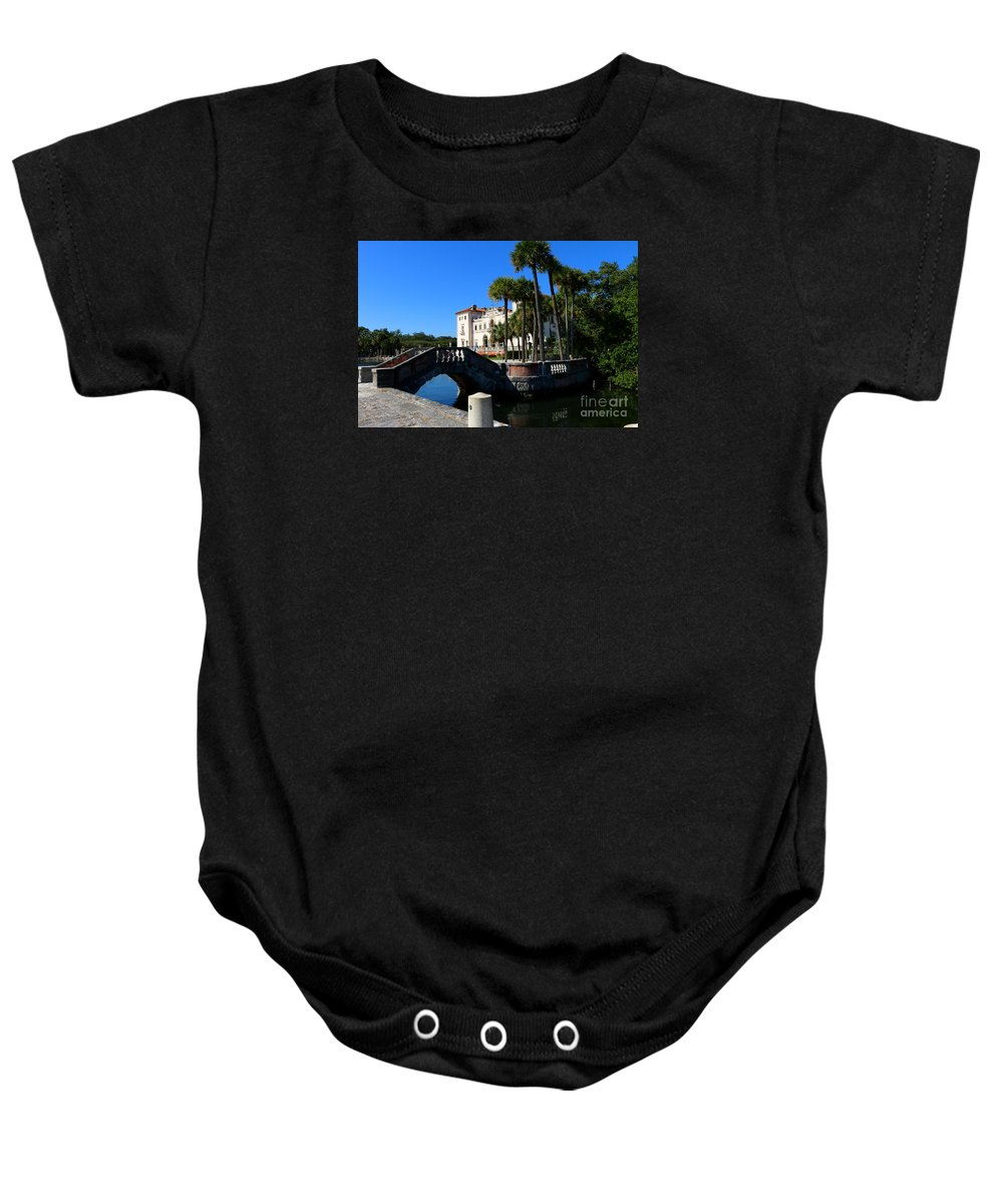 Miami Baby Onesie featuring the photograph Venetian Style Bridge And Villa In Miami by Christiane Schulze Art And Photography