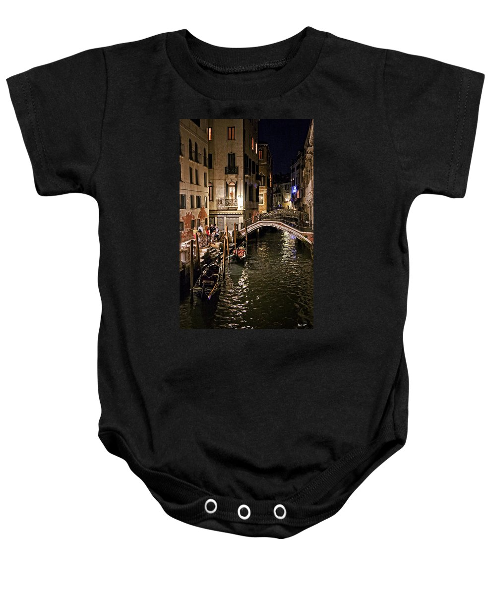 Venice Baby Onesie featuring the photograph Venice Night By The Canal by Madeline Ellis