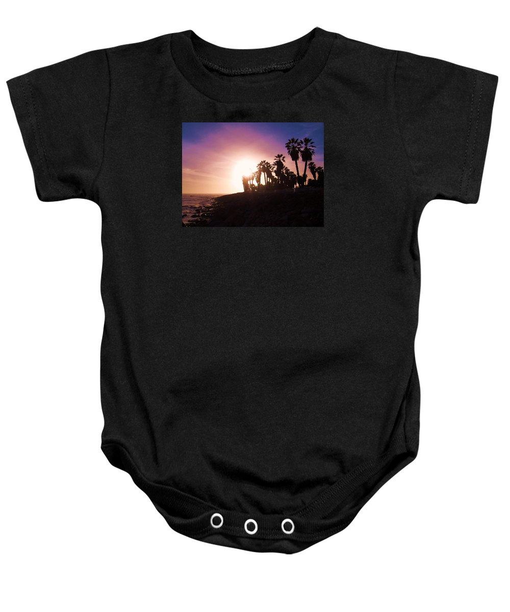 Ventura Beach Sunset Baby Onesie featuring the photograph Ventura Beach Sunset by Mary Ellen Frazee