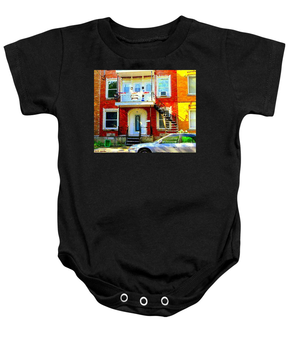 Montreal Baby Onesie featuring the painting Verdun City Street Triplex Apartment Outdoor Winding Stairs Montreal Scenes Primary Colors C Spandau by Carole Spandau