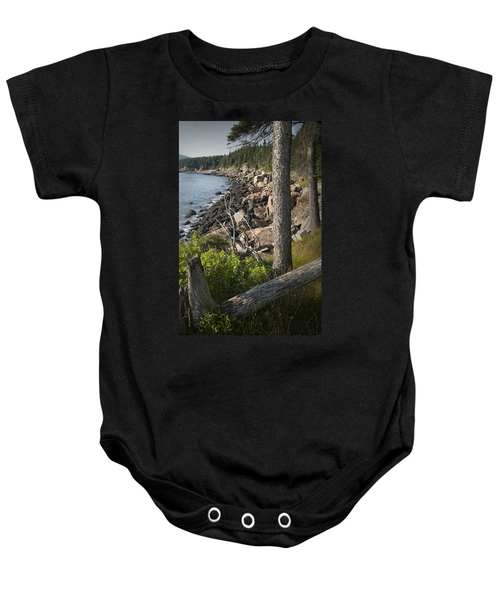 Art Baby Onesie featuring the photograph Vertical Photograph Of The Rocky Shore In Acadia National Park by Randall Nyhof