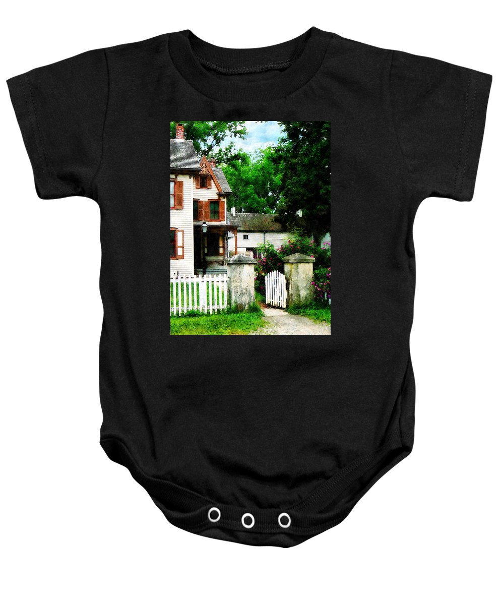 Victorian Baby Onesie featuring the photograph Victorian Home With Open Gate by Susan Savad