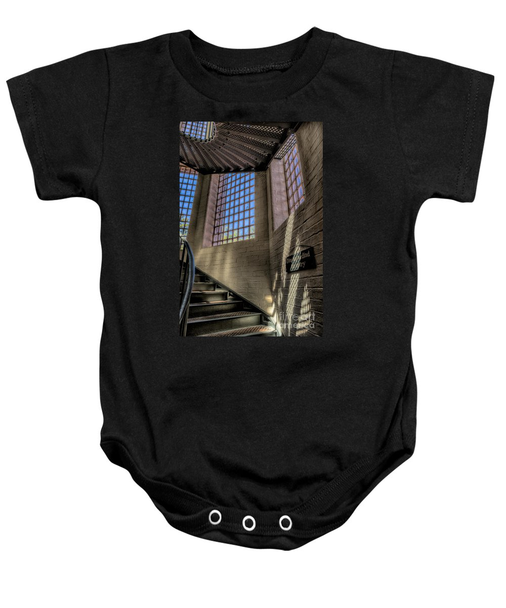 1654 Baby Onesie featuring the photograph Victorian Jail Staircase by Adrian Evans