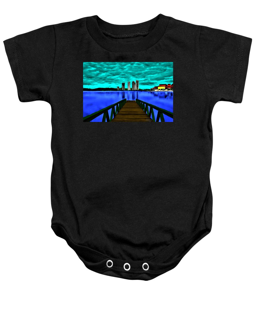 Lake Baby Onesie featuring the painting View Of The City by Bruce Nutting