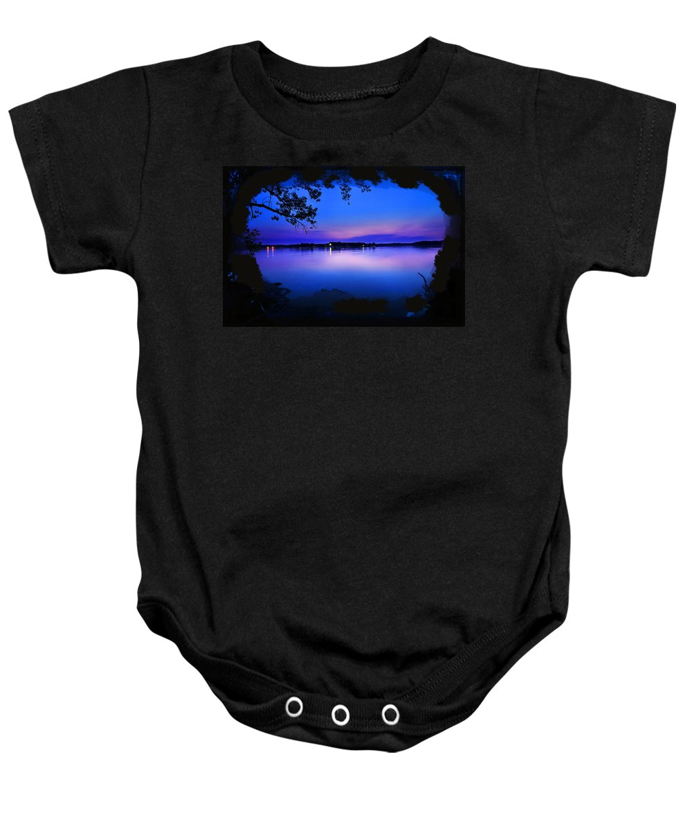 Lake View Baby Onesie featuring the photograph View Of The Night Lake by Randall Branham